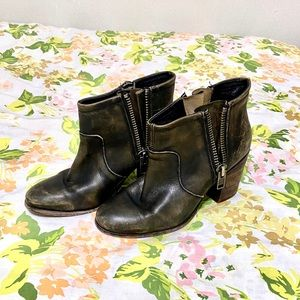 Hinge Distressed Leather Ankle Boots
